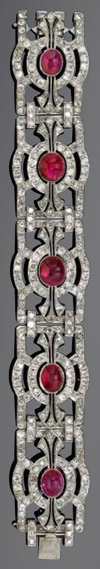 Burmese ruby, diamond and gold bracelet, circa 1935. Composed of five geometrically designed