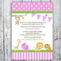 Girl Baby Shower Themes | Safari Baby Shower Invitations, Jungle Animal Theme, Printable Invite ...