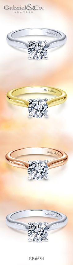 Gabriel & Co. - Voted #1 Most Preferred Bridal and Fashion Brand.   A Diamond Solitaire 14k White Gold Diamond Engagement Ring. Available in White Gold, Yellow Gold, Rose Gold, Platinum.