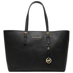 MICHAEL Michael Kors Medium Jet Set Multifunction Saffiano Leather Tote Handbag,Black