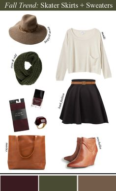 """So I looked at this picture and thought it would be an excellent genderbent Fourth Doctor cosplay.) """"Fall Trend: Skater Skirts + Sweaters + Tights + Booties"""" / like the booties Fall Winter Outfits, Autumn Winter Fashion, Outfit 2017, Fashion Outfits, Womens Fashion, Fashion Trends, Workwear Fashion, Fashion Blogs, Fashion Fashion"""