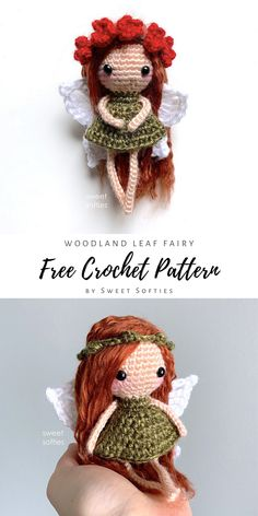 Crochet Fairy, Crochet Bear, Crochet Gifts, Cute Crochet, Crocheted Animals, Doll Amigurumi Free Pattern, Crochet Amigurumi Free Patterns, Amigurumi Doll, Doll Patterns Free