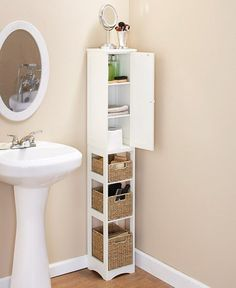 This post focuses on small bathroom organizing ideas and simple bathroom storage solutions. Small bathroom storage ideas are always needed, especially by those who live in cramped space. Many people these days cannot afford living in spacious. Small Bathroom Furniture, Small Bathroom Cabinets, Bathroom Interior, Wall Cabinets, Bathroom Wall, Furniture Storage, Sinks For Small Bathrooms, Slim Bathroom Storage Cabinet, Bathroom Ideas