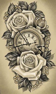 ✔ Tattoo Rose Realistic Colour - ✔ Tattoo Rose Realistic Colour You are in the ri - Clock Tattoo Design, Floral Tattoo Design, Tattoo Design Drawings, Flower Tattoo Designs, Best Sleeve Tattoos, Tattoo Sleeve Designs, Tattoo Designs Men, Forearm Sleeve Tattoos, Hip Tattoos Women
