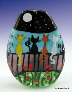 """Full Moon Cat Society"" Bykayo A Handmade OOAK Lampwork Art Glass Focal Bead SRA 