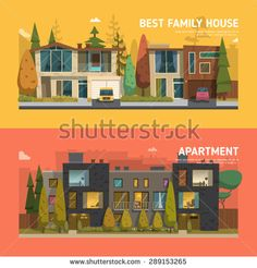 Two family house and apartment banners on the background with beautiful buttons - stock vector