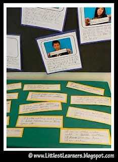 "HANDWRITING ANALYSIS: Third graders learn to write in cursive. They each wrote the alphabet in cursive and then wrote clues about themselves in cursive on a separate card. The parents tried to match the clues to the ""handwriting sample."""