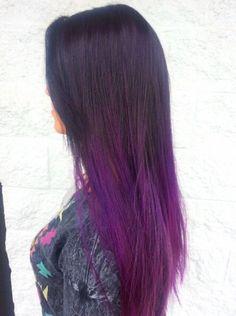 Hair - Color - Ombré - Long - Brunette - Violet - Purple