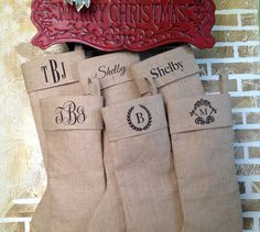 Personalized Burlap Christmas Stockings, $23.50 Burlap Christmas Stockings, Burlap Stockings, Rustic Christmas, Holiday Fun, Christmas Holidays, Christmas Decorations, Holiday Ideas, Merry Christmas, December Holidays