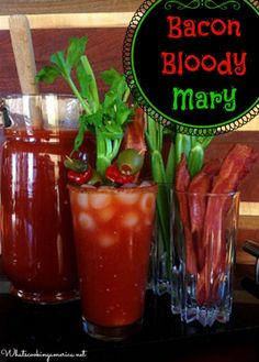 Bacon Bloody Mary Cocktail Recipe  |  whatscookingamerica.net  |  #bacon #bloody #mary #cocktail #vodka