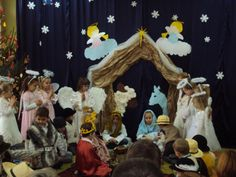 Originally Jasełka were shown in churches only but since they included some ordinary life and language they have been moved to secular places like schools, kingergardens or clubs. Ordinary Lives, Language, Education, Christmas, Painting, Ideas, School, Creativity, Christmas Stage Design