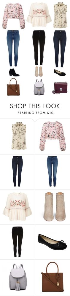 """""""Blouse & Jeggings"""" by thymagine ❤ liked on Polyvore featuring Zimmermann, HUISHAN ZHANG, Miss Selfridge, Aquazzura, River Island, MICHAEL Michael Kors and Fendi"""