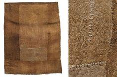 "Susie Gillespie | 3sg Sack Weaving | hand- + machine-spun linen yarn, nettle dye | 29"" x 22.5"" x 4.75"" | South Devon, U.K. | 2011"