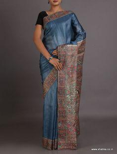 Urmila Steel Blue Plain With Intricate Border Pallu #MadhubaniSilkSaree