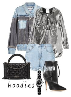 """""""Hoodies"""" by zoe-keredy ❤ liked on Polyvore featuring Moschino, Nobody Denim and Chanel"""