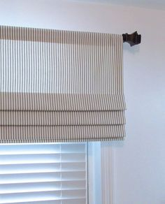Windows Discover Faux Roman Shade/ Lined Mock Roman Valance/ Fake Roman Shade/ Charcoal-Ivory Ticking Stripe/ Custom Sizing Available! House Blinds, Blinds For Windows, Curtains With Blinds, Bedroom Blinds, Sheer Blinds, Patio Blinds, Fabric Blinds, Blackout Blinds, Curtain Valances