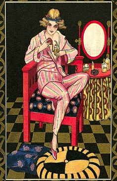Wonderful art deco advertising postcard for an unknown perfume