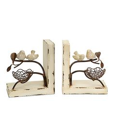 Another great find on #zulily! Bird Nest Bookend - Set of Two #zulilyfinds