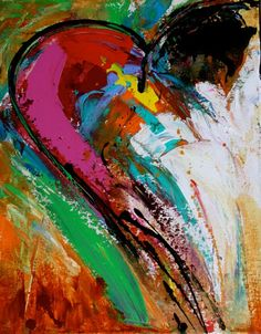 """Summer Love""""....Modern Contemporary Abstract """"Heart"""" Painting by Elizabeth Chapman"""