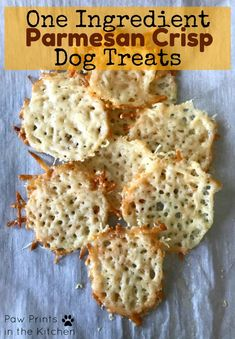 These Parmesan crisp dog treats are simple to make and your dog is sure to love them! - Paw Prints in the Kitchen #dogtreats