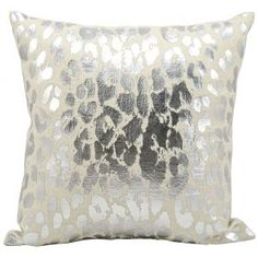 Kathy Ireland Metallic Leopard Silver Throw Pillow - Nourison are designed with a wild cheetah print remains untamed, while transforming into a sophisticated urban adventure, in this blazing silver print on foil cotton pillow collection.