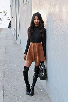 turtleneck and suede skirt - Google Search