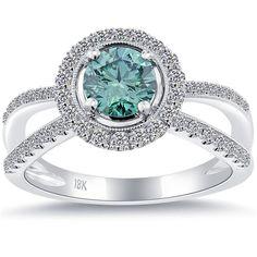 1.46 Carat Fancy Blue Diamond Engagement Ring 18k White Gold Pave Halo #LioriDiamonds #DiamondEngagementRing