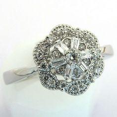 Bague de fiançailles diamants ronds et baguettes 1404