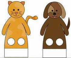 finger puppet worksheets dog and cat