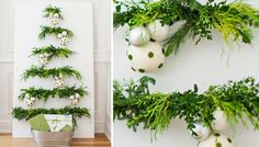 "DIY ""Christmas Tree"" using dowels and greenery. This would be good for small space living. Alternative Christmas Tree, Simple Christmas, Christmas Projects, All Things Christmas, Christmas Tree Decorations, Christmas Tree Ornaments, Christmas Garlands, Holiday Themes, Christmas Themes"