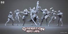 Here you are my contribution to the new starter box Operation: Red Veil for Infinity. Seven miniatures sculpted for the guys at Corvus Belli. As always, a real pleasure to work with them. I hope you like my little creatures :) Scroll down to see renders of all the miniatures :)