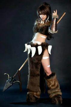 Cavewoman fur spear