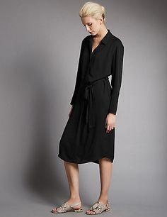 Waist Tie Long Sleeve Shirt Dress | M&S