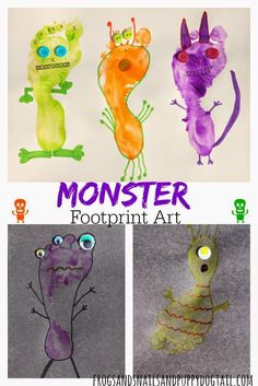 Art Garden - Monster Footprint Art for Kids for Halloween by FSPDT Daycare Crafts, Baby Crafts, Cute Crafts, Toddler Crafts, Daycare Rooms, Toddler Art, Halloween Crafts, Holiday Crafts, Projects For Kids