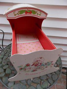 Vintage Strawberry Shortcake Doll Cradle  #AmericanToyandFurnitureCo #DollCradle