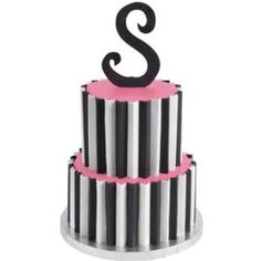 This hot color combo features a distinctive cake topper and scalloped striped panels cut from Sugar Sheets!