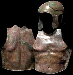 Chalcidian helmet and muscle armour, 5th/4th century B.C Chalcidian helmet, 25 cm high, muscle armour 41.5 cm high. Private collection, from Hermann Historica auction