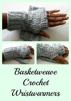 Basketweave Crochet Wristwarmers