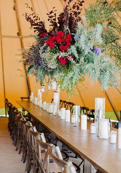 Hanging floral installation - wedding decor