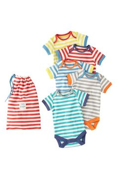 Mini Boden 'Summer' Bodysuits (5-Pack) (Baby Boys) available at #Nordstrom