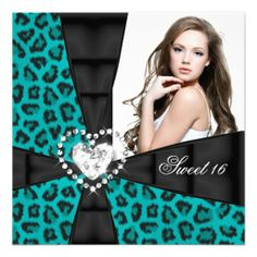 Leopard Teal Blue Sweet 16 Sixteen Birthday Party Personalized Invites