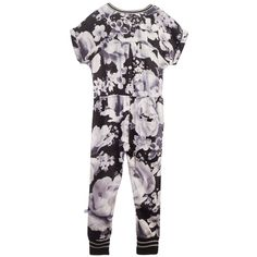 Molo - Girls Black & White Floral 'Anita' Jumpsuit | Childrensalon
