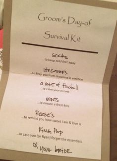 DIY Wedding Day Survival Kits for the Bride and Groom - All the necessities they will need to get them through their wedding day!