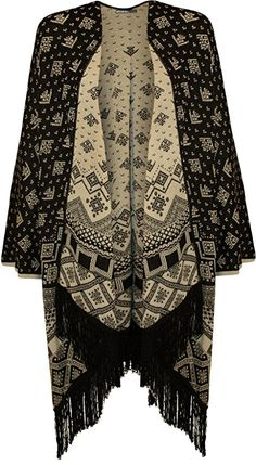 WearAll Womens Plus Size Knitted Tassel Print Poncho Shawl Cape Black Aztec One Size * You can get additional details at the image link. Poncho Shawl, Knit Wrap, Plus Dresses, Plus Size Women, Fashion Brands, Tassels, Kimono Top, Topshop, Aztec
