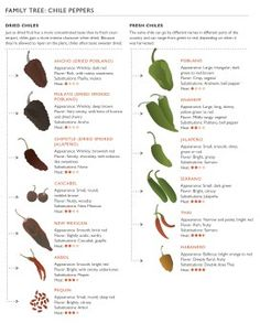 """From """"Food Republic"""" - a chart describing common fresh and dried chiles. Bonus: best way to reduce chile burn on skin and in mouth! Mexican Dishes, Mexican Food Recipes, Spice Chart, Types Of Peppers, Mexican Chili, Dried Peppers, Growing Peppers, Pork Marinade, Gardens"""