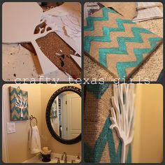 Wrap canvas with burlap. Paint burlap. Add decal.