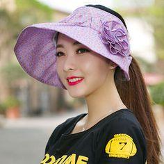 e86281c481f Flower visor hat for women summer UV floral package sun hats