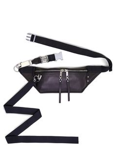 RICK OWENS SS20 TECUATL EASY BUMBAG IN BLACK LAMB LEATHER Pouch Bag, Metal Buckles, Rick Owens, Black Cotton, Belt, Lamb, Leather, Accessories, Belts