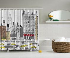 New York City Skyline Bus Taxi Cab Water Silo Bathroom Shower Curtain