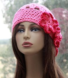 Check out this item in my Etsy shop https://www.etsy.com/listing/267335068/pink-hat-crochet-beanie-womens-unique